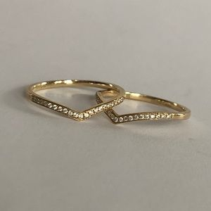 Jewelry - Genuine Diamond and 14k Yellow Gold Stacking Rings